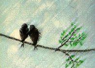 שתי ציפורים על ענף עץ